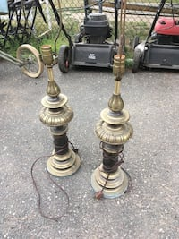 Antique Solid Brass Lamp Set No Shades Brentwood, 11717
