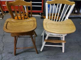 Two wooden highchairs