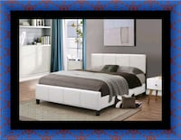 White platform bed with mattress and box all size 52 km