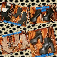 two pairs of black and brown leather boots Las Vegas, 89169