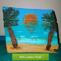 Beach scene painted on repurposed wood Virginia Beach, 23455