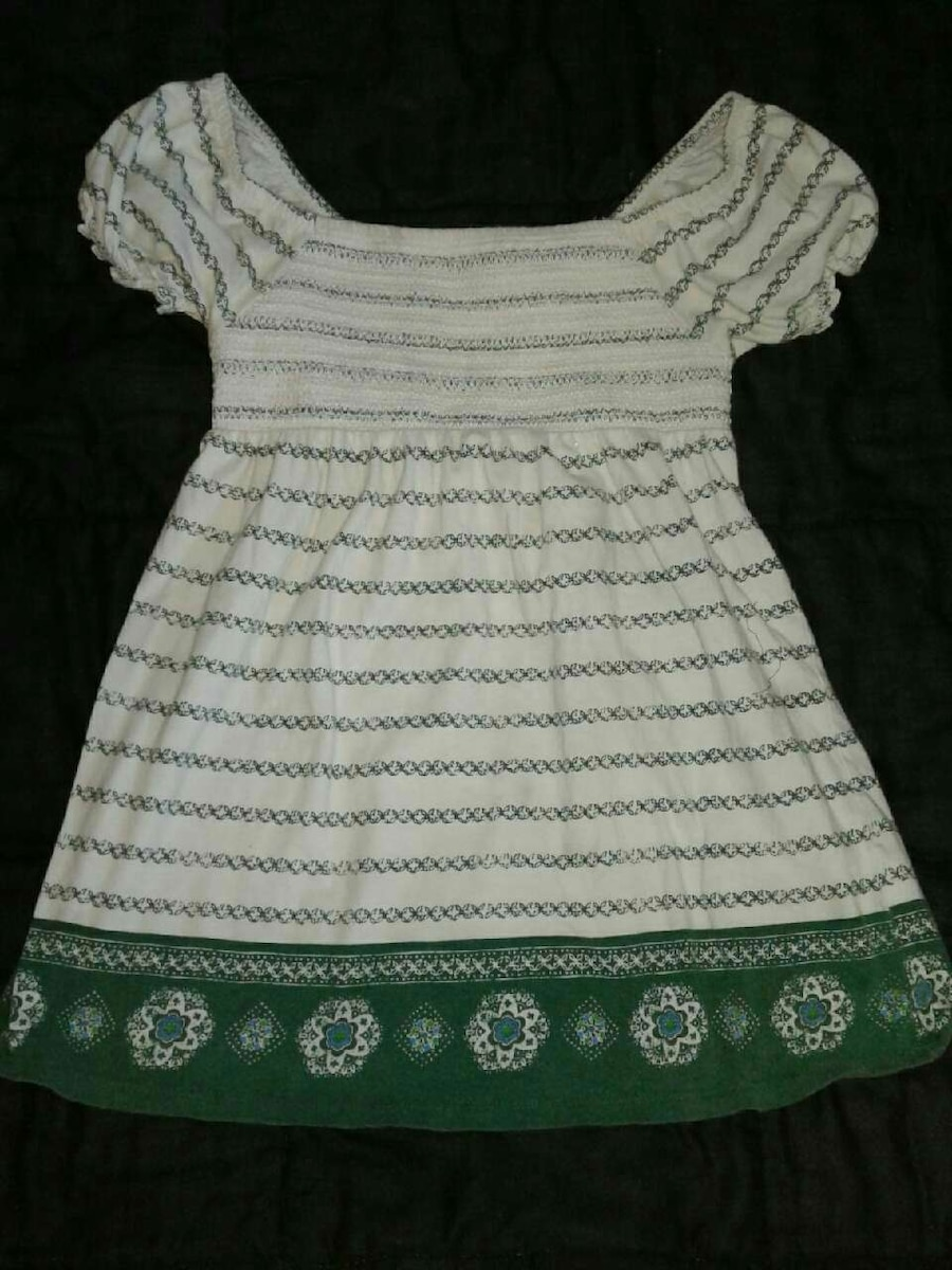 women's white and green stripes scoop neck dress