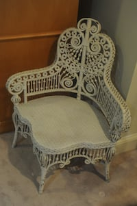 Antique white wicker chair CHEVYCHASE