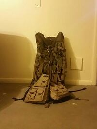 brown and black camouflage hiking backpack