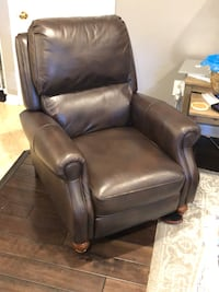 Brown genuine leather recliner with wood feet 9 mi