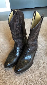 Pair of black leather cowboy boots