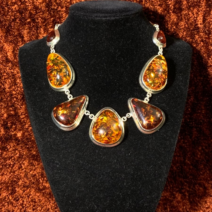 Vintage Sterling SIlver Amber Necklace 1