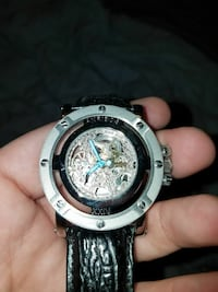 round silver chronograph watch with black leather  Federal Way, 98003