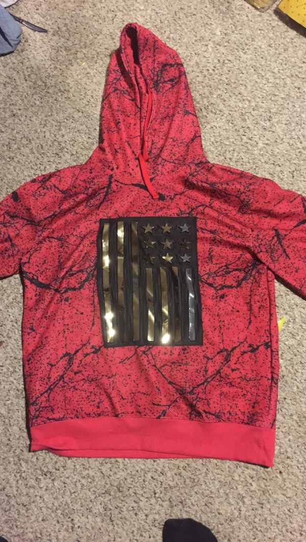 red and black pull-over hoodie