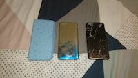 two brown iPhone case with blue flip case Carrick, 7291