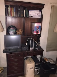 Vintage Solid wood desk and matching bookcase Seminole, 33778