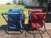 blue and red cooler camping chairs 318 mi