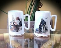 AUTHENTIC 22K GOLD NORMAN ROCKWELL MUGS - SET OF 2 - VINTAGE 1985 WELLAND