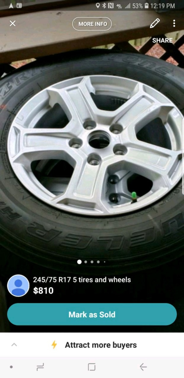 5 Tires 245 75R17 on stock jeep rims