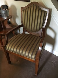 Side chair, olive and gold striping  Bel Air, 21015