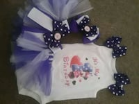 My first Birthday onesies with tutu and Hair bow