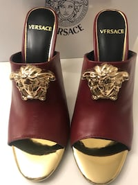 Red leather  Versace Mules Sandals size 9/39 Silver Spring, 20904