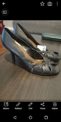 pair of black leather open toe ankle strap heels Surrey, V3S