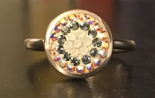 Pave Crystal Ring (Silver Band)