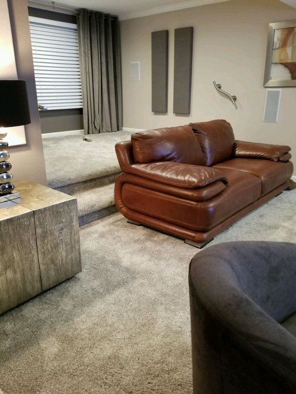 Contemporary soft leather loveseat (top grade)