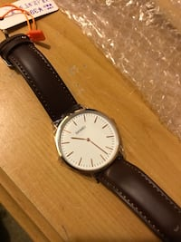 New, round silver skmei analog watch w/ dark brown leather strap Baltimore, 21227