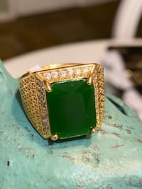 Gold Plated Men's Ring With Green Stone Size 11