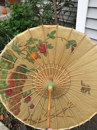 "vintage rice paper and bamboo parasol painted peacock & birds 18-1/4"" Middletown, 10940"