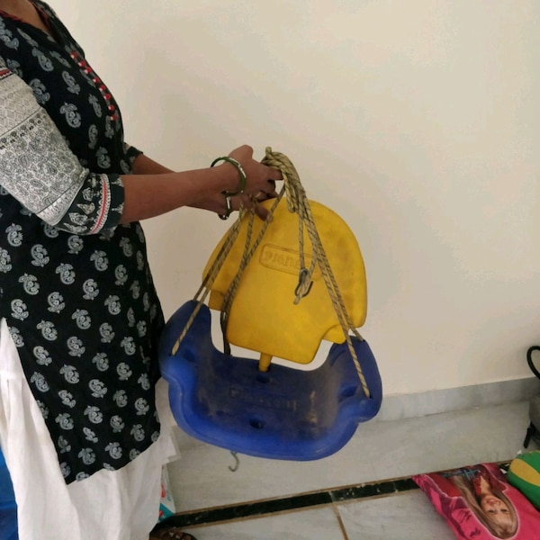 women's blue and yellow leather shoulder bag