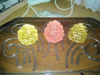 brown pink and yellow wooden decor
