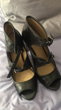 pair of black leather open-toe ankle strap heels Southfield, 48033