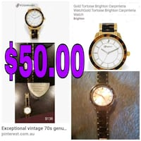 round gold analog watch with black strap Weslaco