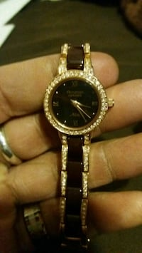 Womens armitron watch gold and brown tone
