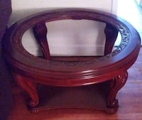 round brown wooden framed glass top coffee table Washington, 20018