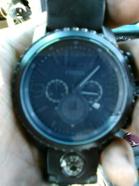 round black chronograph watch with black leather strap Perris, 92571