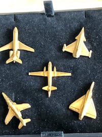 Gold filled 18k planes pins France collectibles