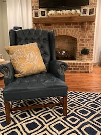 Navy blue leather wing back chair Brandon, 39047