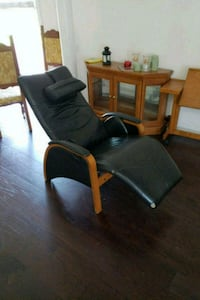 brown wooden framed black padded armchair Triangle, 22172