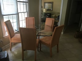 Dining set with 4 apricot suede chairs