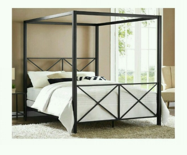 Black Queen Size Metal Canopy Bed Frame New In Box
