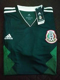 green and white Adidas jersey shirt