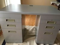 white wooden single pedestal desk Reston, 20194