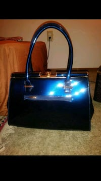 black and blue leather tote bag Columbus, 43232