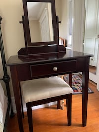 Vanity with mirror and seat