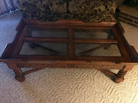 Solid wood coffee table , glass inserts, beautiful Oil City, 16301