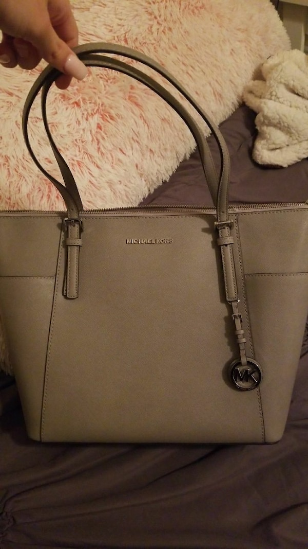 864b0d0307153a Used gray Michael Kors leather tote bag for sale in College Station ...