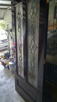 brown wooden glass paneled door
