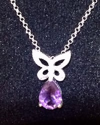 Amethyst and butterfly Necklace with diamond accent from DBJ in sterling silver Oklahoma City, 73108