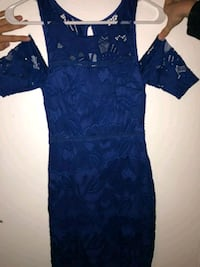 blue and gray floral v-neck dress Church Point, 70525
