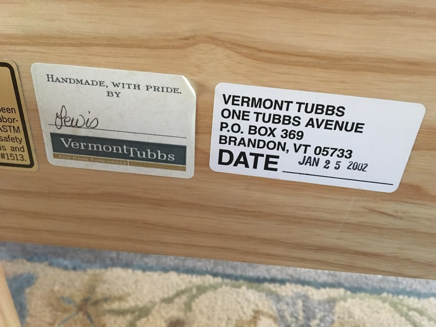 Vermont Tubbs signage on wood bed dated 2002
