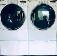 Kenmore washer and dryer front load whit pedestals